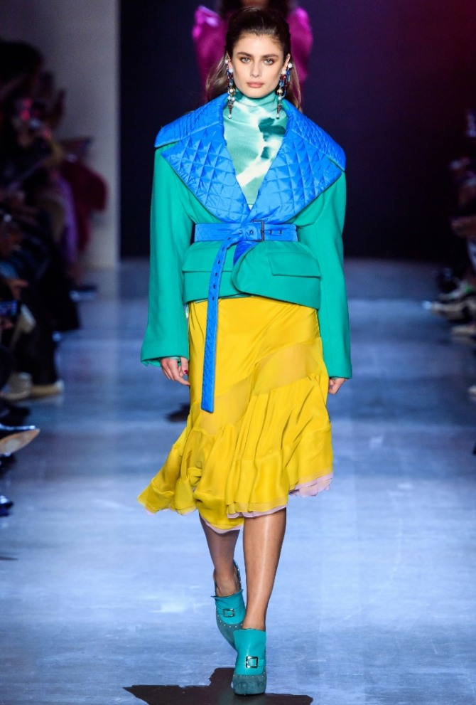 Green Loafers Combine With A Yellow Autumn Skirt And Green Jacket
